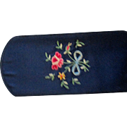 Reduced Two vintage glasses cases, red leather gold flour de lis, blue satin embroidered flowe