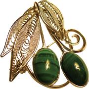 SALE PENDING Two malachite stones set in silver, three wire design leaves, excellent condition