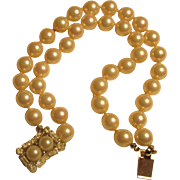 REDUCED Reduced Vintage Verdome two strand cultured pearl bracelet, a double pearl and rhinest