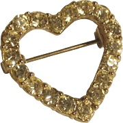 "SALE Vintage valentine heart pin.  1""  Quality Rhinestones perfect condition"