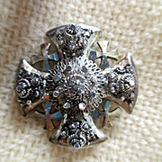 SALE vintage Maltese Cross brooch/pendant, from Jerusalem, 1970s, silver