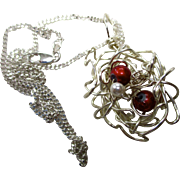 SALE Handmade, origianl, silver plated wire nest with two red glass beads and a pearl; wire ne