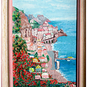 SALE Oil painting of Sorrento Italy: vintage professionally framed:  60s: Ruth S. Proctor