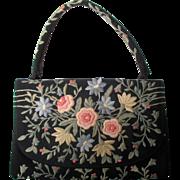SALE Vintage Marketa embroidery black evening bag: Rio de Janeiro: 1950s-1960s: