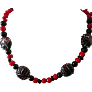 "SALE Artisan Necklace Handcrafted original 21"" black jet, red coral, lampwork beads neckl"