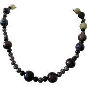 "SALE Color and Texture are this necklace, Artisan 18"" bead necklace in blue, brown, gray,"