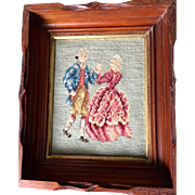 SALE Vintage needlepoint colonial figures picture in Victorian Carved Mahogany gold insert ...