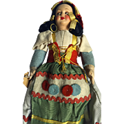 SALE Vintage Italian peasant doll: late 40s 50s: 1300ps: cloth body: composition head: ...