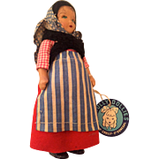 SALE Crolly Dolly: early 50s: peasant girl: Donegal Ireland: Celluloid, Donegal yarn: local ..
