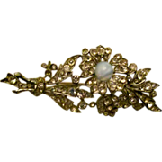 SALE Reduced Rhinestone floral moonstone pin,  vintage 40s-50s