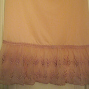 "SALE Reduced 1930's Rose Half Slip, 27"" with 9"" embroidered Lace Ruffle. pristine an"