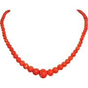 Antique Victorian Salmon Coral Beaded Necklace