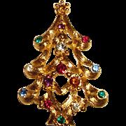 Monet Brooch Christmas Tree Pin Open Metal Work Rhinestones