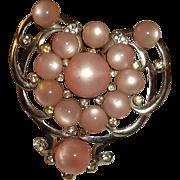 Pink Heart Shape Moonglow Brooch
