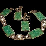 SALE Peking Glass Bracelet Earrings Rock Crystals
