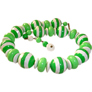 SALE Green Candy Striped Choker Necklace