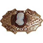 1800s Victorian Hard Stone Cameo Brooch Pin for Watch, Fob, Locket