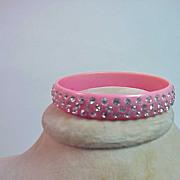 Vintage Pink Lucite And Rhinestones Bracelet Bangle