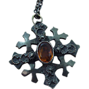 Antique Silver 800  Bethlehem Cross With Citrine color Stone