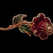 Vintage Trifari enamel Red Rose Pin Brooch