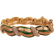Trifari Rhinestones And Green Enamel Bracelet