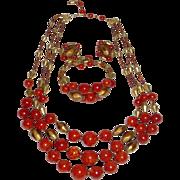 Vintage Hobe Bakelite necklace Bracelet Earrings Set