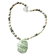 "SALE ""Peace"" Jade Pendant with matching bead necklace and Keshi Pearls with Earrings"