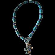 SALE Sleeping Beauty Turquoise, Lapis Lazuli, and Citrine necklace with Enameled Toggle Clasp