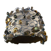 SOLD Knitted wire bracelet with Multi semi-precious Stones and pearls