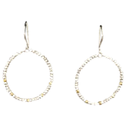 Large-Hoop Silver Earrings with Silver and Gold-Filled facetted beads