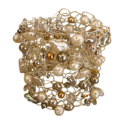 Lacy knitted wire cuff bracelet with pearls, Swarovski crystals and charms