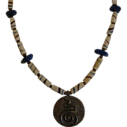 African Trade Beads with Shibuichi Pendant and Toggle clasp