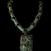 SALE Turquoise Pendant with bronze separators and Shibuichi Toggle