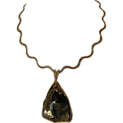 Pyrite Gemstone with Gold-Filled Wire Wrap on elegant chain