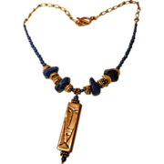 Copper Picasso Pendant with Lapis Nuggets necklace