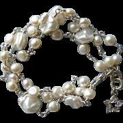 3-strand Pearl Bracelet with Charm