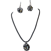 Oxidized Copper Bird's Nest Necklace and Earring Set