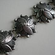 Los Castillo ~ 1940s Sterling Silver ~ Taxco Floral Bracelet