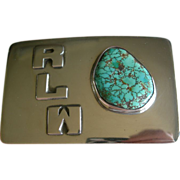 Frank Patania Sr. - Sterling Silver and Turquoise - Belt Buckle - Monogram RLW