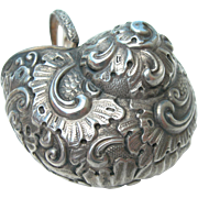 SOLD Antique Snuff Pill Box - 900 Silver - Curled Ornate Snail Shell - Late 19th Century