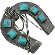 Bill Ilfeld - Sterling and Turquoise - Western Horseshoe and Lariat - Pin Clip - 1930s