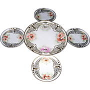 Large Prussia Handled Plate & 4 Small Plates From Prov Saxe Germany