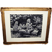 Antique French Jacquard P. Tarrant Stevengraph Woven Silk Picture in Original Wood Frame