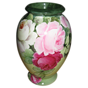 Gorgeous German Porcelain Vase Hand Painted Pink Roses Flowers