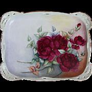 Antique Rosenthal Porcelain Floral Dresser Tray or Plate Artist Signed