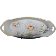 REDUCED RS Germany Hand Painted Floral Handled Celery or Bread Tray