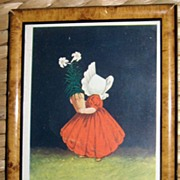 Sunbonnet Baby Postcard April Ullman 1906 In Wood Frame
