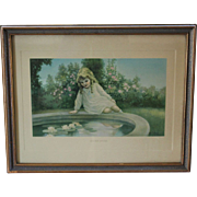 "Framed Print ""Golden Hours"" By Henry F. Wireman Girl Sitting by Pond"