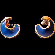 Pretty Signed Monet Blue Enamel Pierced Earrings