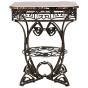 REDUCED STUNNING Art Deco Wrought Iron Marble Top Table